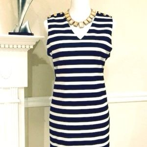 Navy Stripe Dress w/Gold Button Accent
